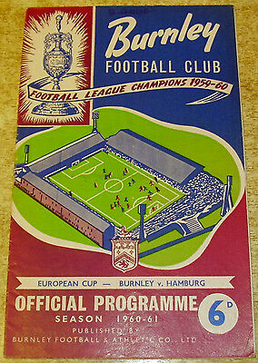 1960/61 EUROPEAN CUP - BURNLEY v HAMBURG - 18 JANUARY 1961