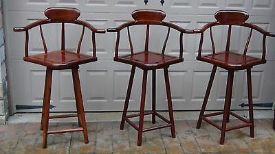 SET OF 3 ANTIQUE 1920c CHINESE ROSEWOOD CARVED YOKE TOP RAIL SWIVAL BAR STOOLS