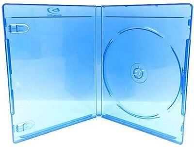 100 pcs Premium Single Blu Ray DVD CD Blue Cases, hold 1 Disc, Standard 12mm, S