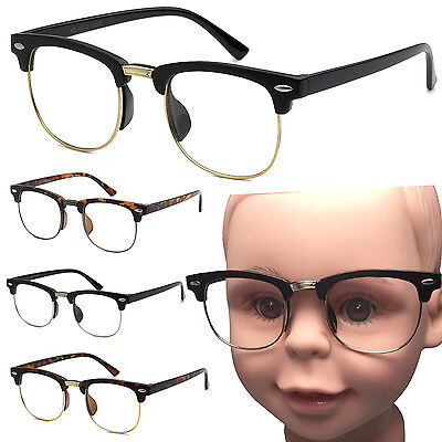 Small Kid Size Clear Lens Glasses Wayfarer Clubmaster Nerd Hipster Child Costume