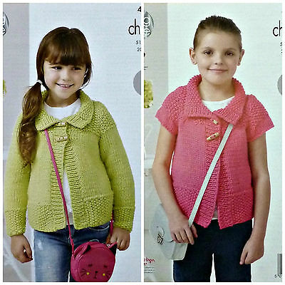 KNITTING PATTERN Girls Easy Knit Long/Short Sleeve Moss Stitch Jacket Chunky4437