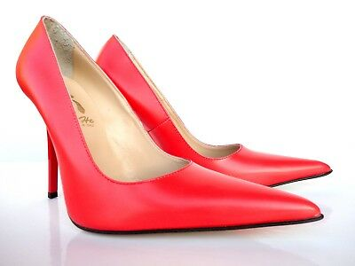 Giohel Italy High Heels Pointy Toe Pumps Schuhe Leather Decolte Red Rot Rosso 36