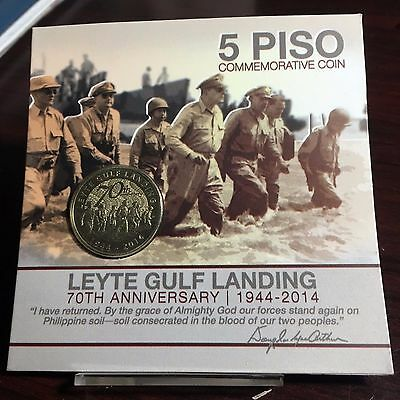 2014 5-PISO PHILIPPINES LEYTE GULF LANDING 70th ANNIVERSARY COMMEMORATIVE COIN