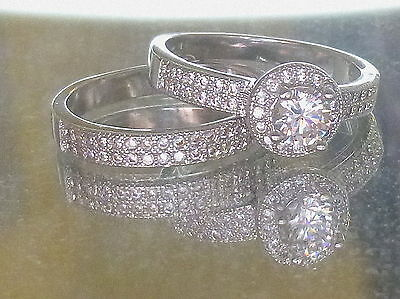 Authentic Sterling Silver cubic zirconia bridal ring set Size 7