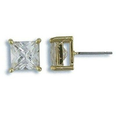 Mens 4 Ct Gold Ep Square Cubic Zirconia Stud Earrings !