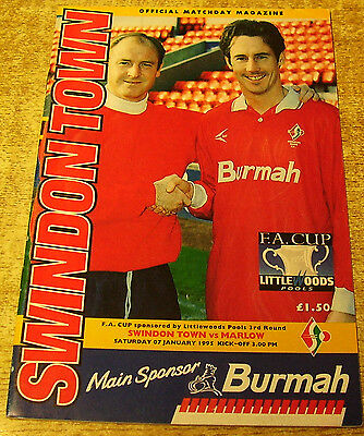 1994/95 FA CUP 3RD ROUND - SWINDON TOWN v MARLOW