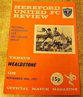 1977/78 FA CUP 1ST ROUND REPLAY - HEREFORD UNITED v WEALDSTONE