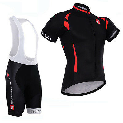 Mens Cycling Clothes Bike Riding Jersey Bib Shorts Kits Short Shirt Padded Pants
