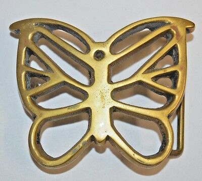 Vintage 1970s BUTTERFLY See Through Hippie BOHO Solid Brass Belt Buckle Rare