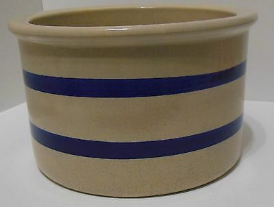 Robinson Ransbottom  Navy Stripe Stoneware Crock Low Jar 1 Qt Roseville RRP