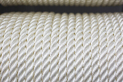 Nylon 3 Strand Twisted Rope 16mm x 100m, White