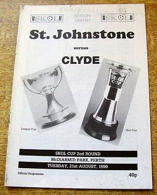 1990/91 LEAGUE CUP 2ND ROUND - ST JOHNSTONE v CLYDE