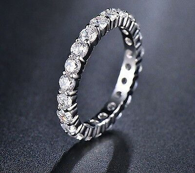 Authentic White Gold Ep Round Eternity Anniversary Ring Band Size 5 6 7 8 9 10