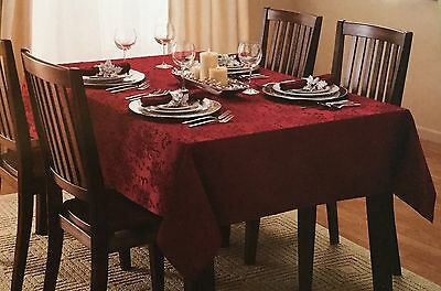 "New St. Nicholas Square Tablecloth ""Poinsettia Scroll"" - 70"" Round"