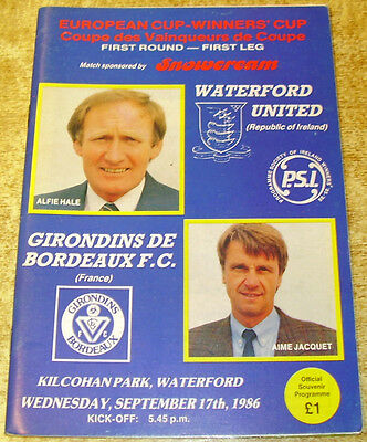1986/87 CUP WINNERS CUP 1ST ROUND - WATERFORD UNITED v BORDEAUX