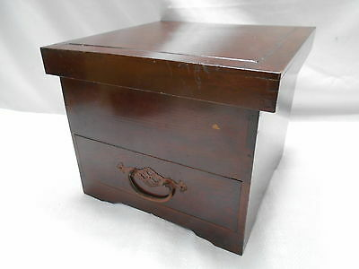 Vintage Kiri Wood Document Box Japanese Drawers Circa 1930s #567