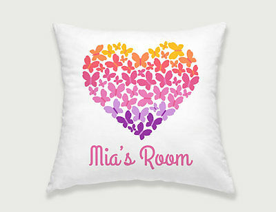 Bright Star Kids Personalised Couch Cushion Cover - Heart Shaped Butterflies