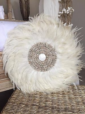 White Boho Feather & Cowrie Shell JUJU Hat Plume Handcrafted Wall Hanging Decor