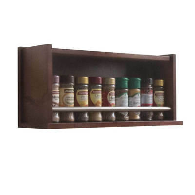 Spice Rack - Wooden - Closed Top - 1 Tier - Metal Bar - 18 Herb and Spice Jars