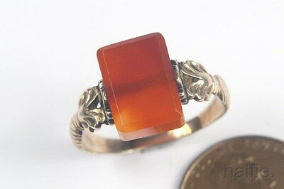 ANTIQUE ENGLISH LATE GEORGIAN 9K GOLD AGATE SWIVEL SIGNET RING c1820