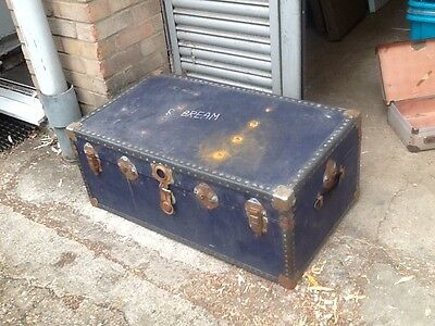 blue ply old steamer trunk