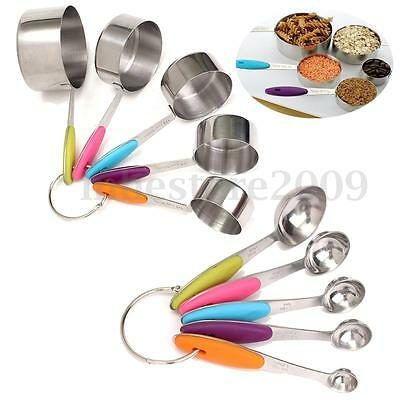 10pcs Stackable Steel Measuring Cups And Spoons For Kitchen With Silicone Handle