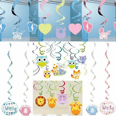 Baby Shower Christening Party Hanging Swirl Decorations Boy Girl Unisex Neutral