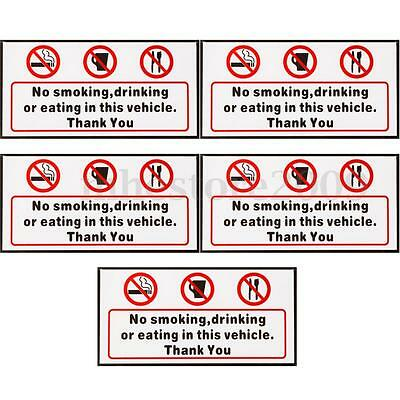 5pcs No Smoking Eating Drinking in This Vehicle Signs Stickers Taxi Bus Decal