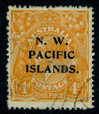 NEW GUINEA (N.W PACIFIC ISLANDS)-1919 4d Yellow-Orange Sg 104 FINE USED V12626