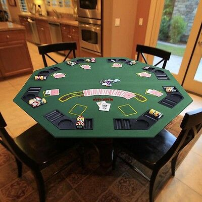 "48"" Green Octagon 8 Players Two Fold Folding Poker Table Top & Carrying Case"