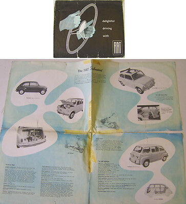 Fiat Range 600 Multipla 1100 1400 1900 B 1956 Original Brochure Poor condition