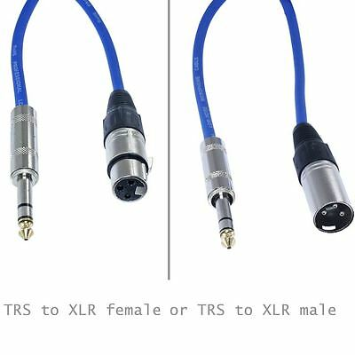 1/4 TRS to XLR MALE FEMALE shielded balanced pro audio PA patch cable mic cord