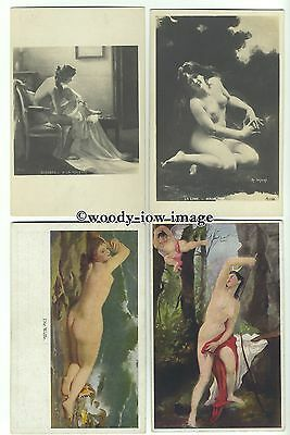 su2423 - Artist Drawn Naked Young Women - 8 postcards