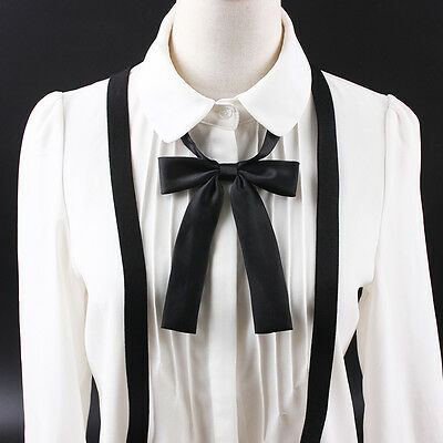 Womens Ladies Satin Silk Adjustable Ribbon Bows Bowknot Bow Tie Necklace Choker