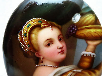 Stunning 19th C Small Porcelain Painting a/ Titian's Young Girl Holding Tray