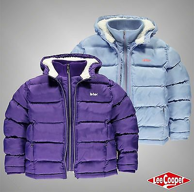 Junior Girls Designer Lee Cooper Warm Bubble Style Two Zip Jacket Size Age 7-13