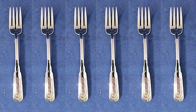 SET OF SIX - Oneida Stainless CITYSCAPE Fish / Dessert Forks * USA