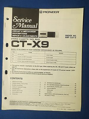 Pioneer Ct-X9 Service Manual Original Factory Issue The Real Thing