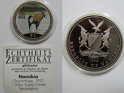 Nanibia ,1 Dollar 1995 ST , Oryx - Antilope , in Farbe, mit CAO ,#09