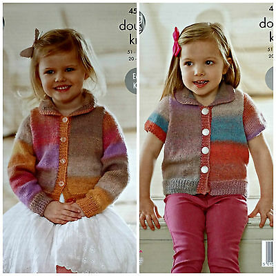 KNITTING PATTERN Girls Easy Knit Long & Short Sleeve Jacket Sprite DK 4576