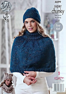 25a1dc034 KNITTING PATTERN Ladies Easy Knit Polo Neck Cape Snood   Hats Super Chunky  4699