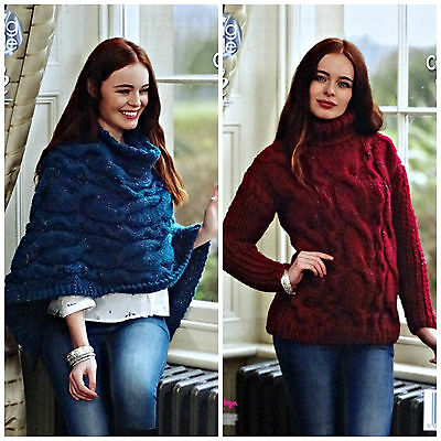 KNITTING PATTERN Ladies Cable Poncho & Cable Jumper Super Chunky King Cole 4618