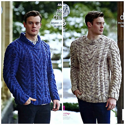 KNITTING PATTERN Mens Roll or Round Neck Cable Jumper Super Chunky KingCole 4616