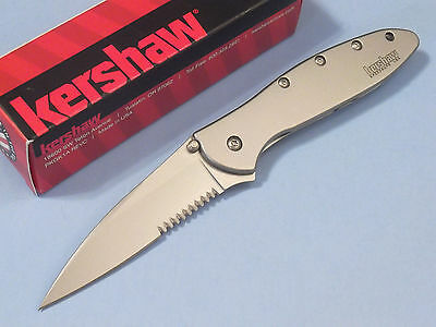 KERSHAW 1660ST LEEK Stainless Speed-Safe assist serrate framelock knife USA NEW!