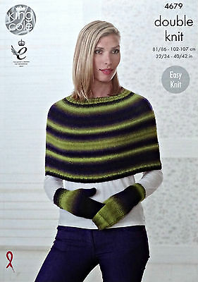 KNITTING PATTERN Ladies Easy Knit Round Neck Cape & Mittens DK King Cole 4679