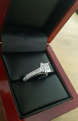 925 STERLING SILVER 1.5ct PRINCESS CUT DIAMOND ENGAGEMENT RING SIZE M