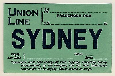 Shipping Company UNION LINE to Sydney * Old Luggage Label Kofferaufkleber