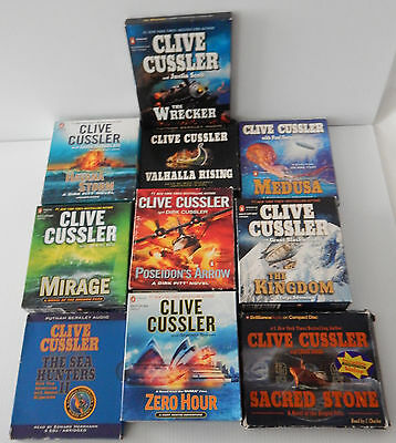 Clive Cussler Audio CD Book Lot of 10 USED