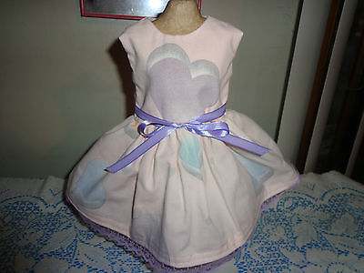 doll clothes dress for 18 inch american girl purple heart pink lace handmade 186