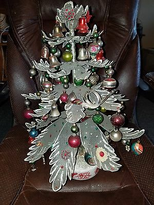 Antique Rare Childs Handmade? Metal Christmas Tree W/85 Ornaments